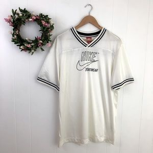 Nike Large White Spell Out Short Sleeve Jersey